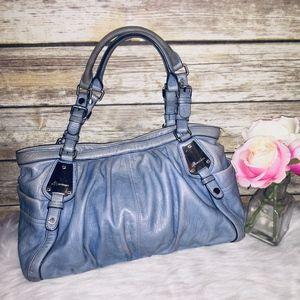 B. Makowsky Light Blue Leather Shoulder Bag Tote